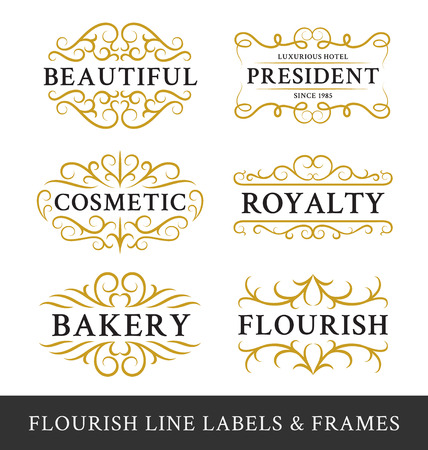 ornament  jewellery: Set of flourish calligraphy frames design for business and product such as real  estate, hotel,salon,bakery,cosmetic, jewelry, resort, wedding, beer, whiskey, food menu. Vector illustration Illustration