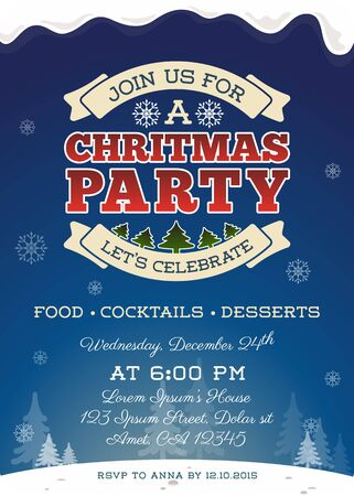 x mas parties: Christmas party invitation template design. Cute Christmas invitation. Vector illustration Illustration