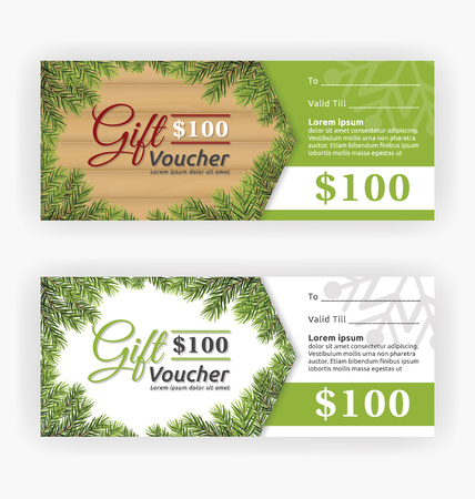 winter season: Christmas leaves border theme, gift voucher certificate template. Vector illustration Illustration