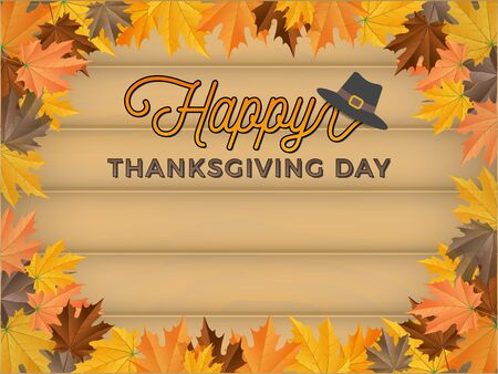 happy family nature: Happy Thanksgiving Day Background With Realistic Wood Board and Maples Border
