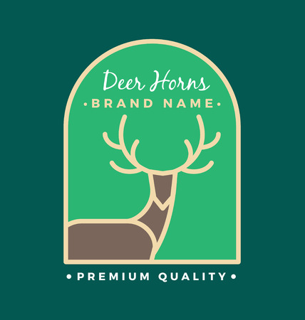rein: Rein Deer Head and Horns Logo Template Design. Minimal line out logo emblem. Vector illustration