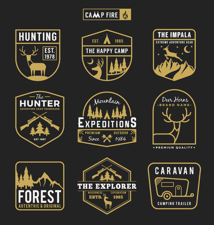 hunting season: Set of camping outdoor and adventure gears badge logo, emblem logo, label design. Vector illustration