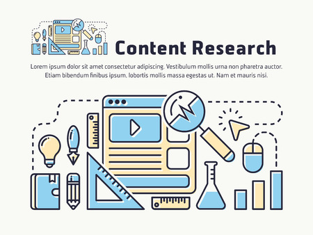Content marketing research thin line icon design,  website user experience research, digital marketing analysis. Vector illustration Illustration