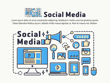 sharing: Social Media and Network Marketing. Icons and symbols for web header, banner, page cover, printing media. Vector illustration