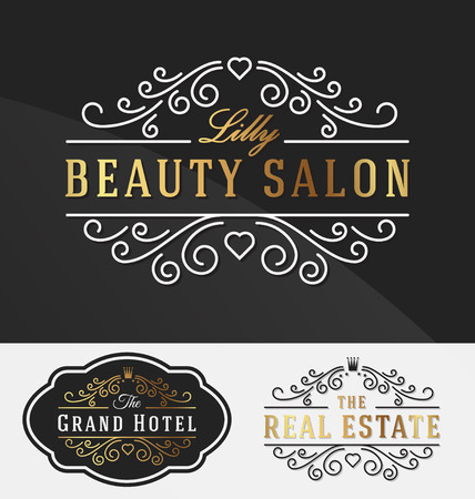 resident: Flourish Line Logotype Template Suitable For Businesses and Product Names, Luxury industry like beauty salon, hotel, wedding, restaurant, jewelry and real estate.Vector illustration