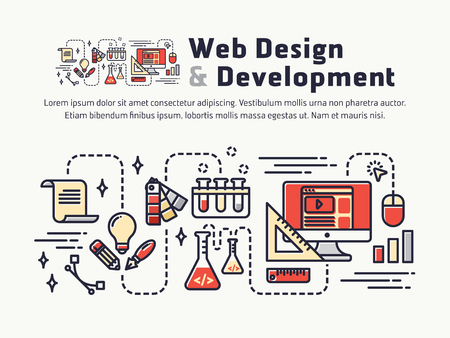 algorithm: Web design and Development. Icons and symbols for web header, banner, page cover, printing media. Vector illustration
