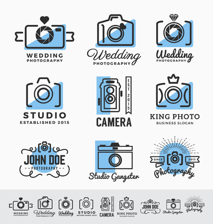 studio photography: Set of photography and camera service insignia design.