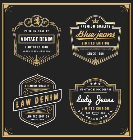 Vintage denim jeans frame for your business. Use for label, tags, banner, screen and printing media. Vector illustration Vettoriali