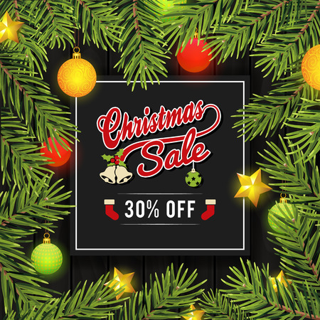 christmas sale: Christmas sale banner for promotion on webpage and social media.  Illustration