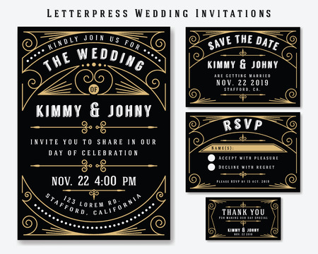Plantilla de diseño de invitación de boda tipográfica. Incluye tarjeta de RSVP, guardar la tarjeta de fecha, etiquetas de agradecimiento. Marco de estilo vintage premium clásico
