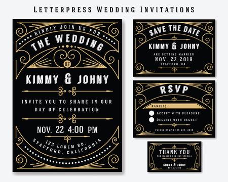 Typographie Invitation de mariage modèle de conception. Inclure carte RSVP, sauvez la carte de date, merci tags. Vintage Style haut de gamme classique Cadre