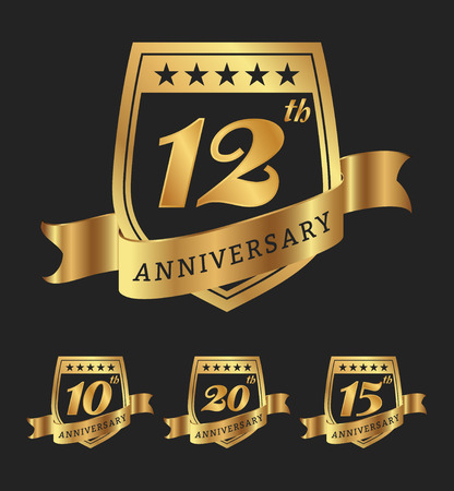 sign: Golden anniversary badge labels design.