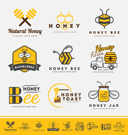 Set of honey bee and labels for honey products. Abstract bee and honey logo symbols. Çizim