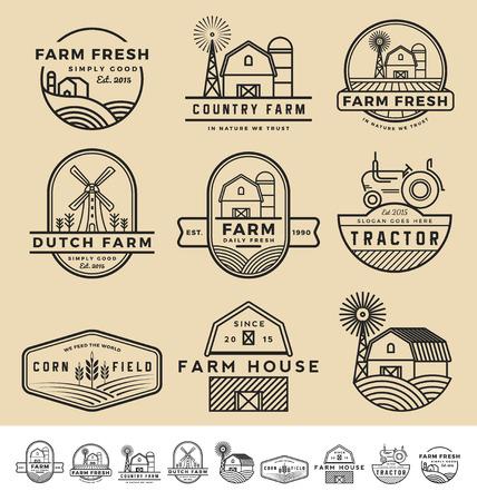 Conjunto de clásicos y modernos insignia granja y etiquetas de diseño. Ilustración de vector
