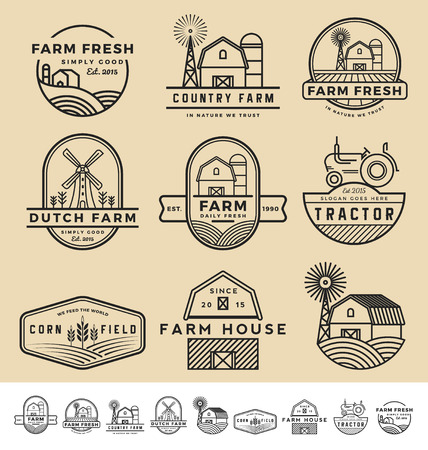 tractor sign: Set of vintage and modern farm badge and labels design.