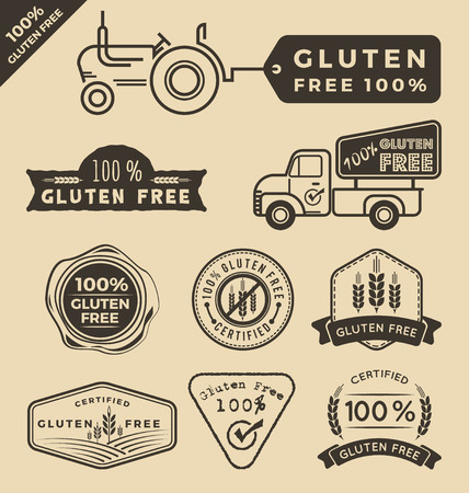 tractor sign: Set of gluten free food certified label, tags design.  Illustration