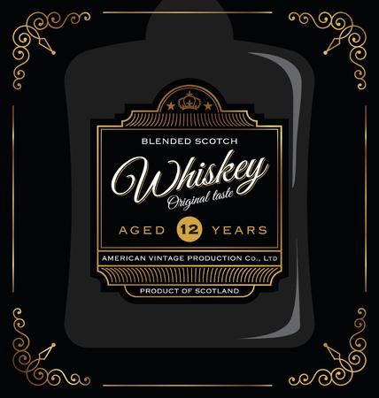 label design: Vintage frame label design. Suitable for Whiskey and Wine label, Beer label.  Illustration