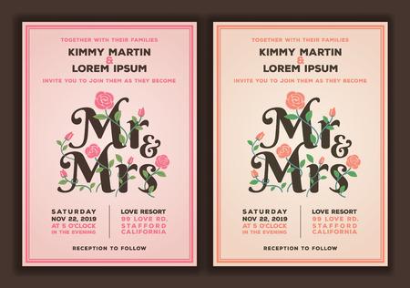 결혼식: 꽃 결혼식 초대장 템플릿 씨와 부인 제목입니다. 복숭아 오래된 컬러 톤 결혼식 초대를했다.