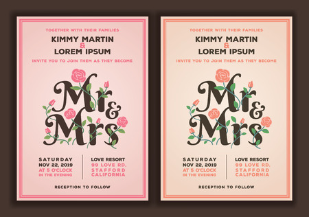 wedding ceremony: Mr and Mrs title with flower wedding invitations template. Peach and old rose color tone wedding invitation. Illustration