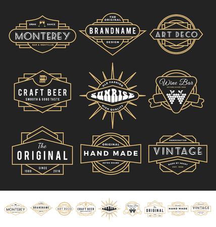 Set von Retro-Abzeichen für Vintage-Produkt und Unternehmen wie Nachtclub, Whisky, Brauerei, Wein, Handwerk Bier, Restaurant, handgemachtes Produkt. Vektorgrafik