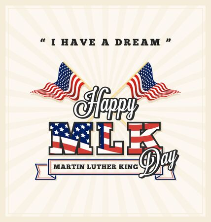 Martin luther king day greeting card with cross USA flag and lettering on sunburst background.