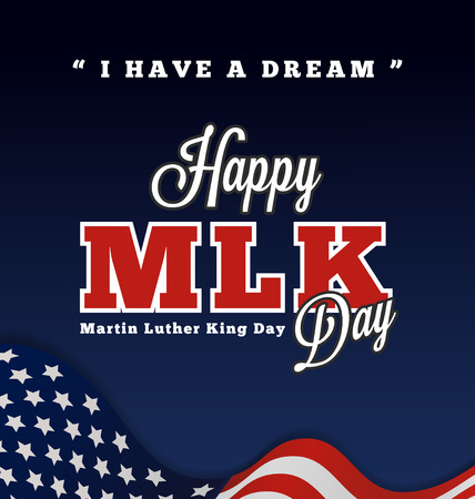 """rey: Martin Luther King letras de felicitación del día con citas """"Tengo un sueño"""" en la ondulada fondo de la bandera americana. Vectores"""