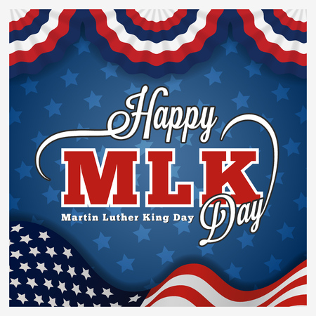 jr: Martin luther king day greeting card and lettering on wavy american flag background.