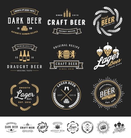 estampilla: Collection of 9 Beer Badges, Stamps and Labels Design. Vector illustration Vectores