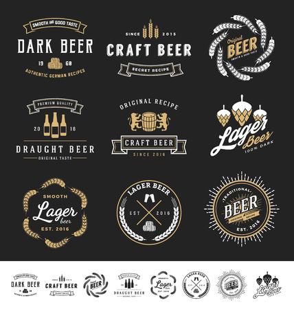 stamp: Collection of 9 Beer Badges, Stamps and Labels Design. Vector illustration Illustration