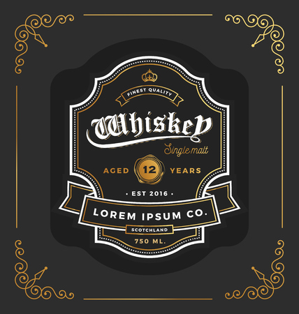 Vintage frame label design. Suitable for Whiskey and Wine label, Restaurant, Beer label. Vector illustration