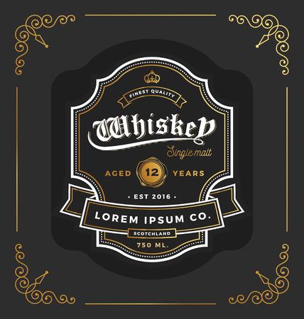 diseño de la etiqueta marco de la vendimia. Adecuado para whisky y vino de etiqueta, restaurante, de la cerveza. ilustración vectorial