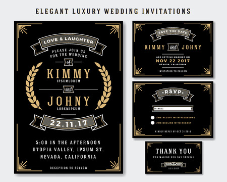 Unique Luxury Wedding Invitations Template Collection. Include RSVP card, Save the date card, thank you tags. Classic Premium Vintage Style Frame Vector illustration.