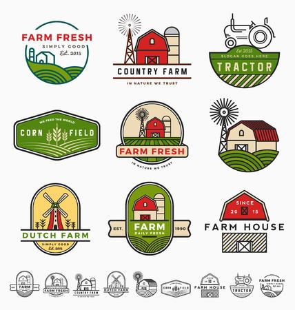 Diseño del modelo del logotipo de la granja de época moderna. ilustración vectorial