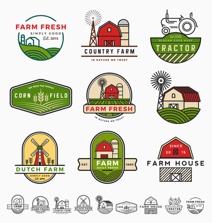 Vintage modern farm logo template design. Vector illustration