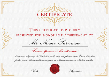 certificate design: Certificate template design with emblem, flourish border on white background  A4 size Bleed