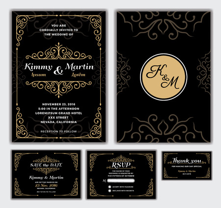 design template: Elegant Wedding Invitation Design Template.