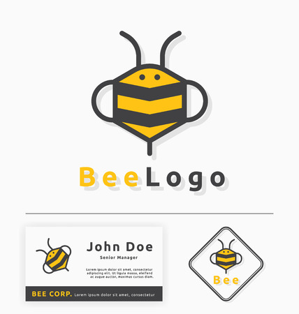 business symbols: bee logo for honey business and products. Abstract bee and honey logo symbols. Vector illustration Illustration