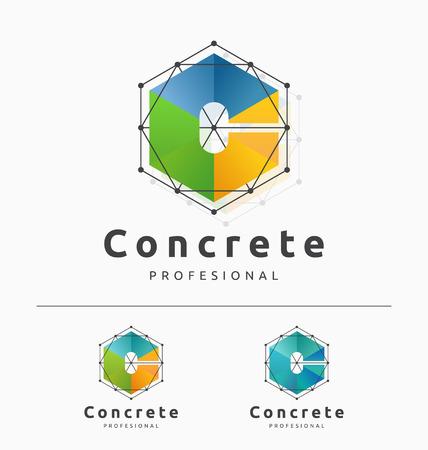 Resumen de diseño de plantilla Logo letra C con el cubo y la estructura. ilustración vectorial