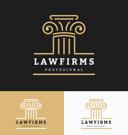 firm: Law firms logo template with space for business slogan and tags line. Vector illustration