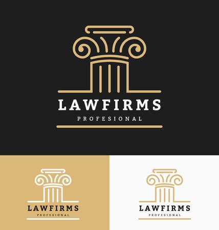 firme: Los bufetes de abogados logotipo de la plantilla con el espacio para el lema de negocio y etiquetas de línea. ilustración vectorial