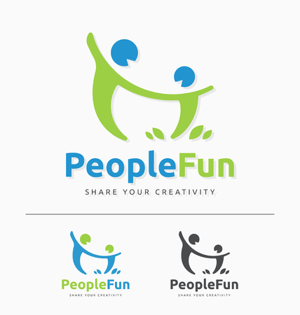 connect people: Abstract couple having fun sign and logo template. people connect logo design. Vector illustration