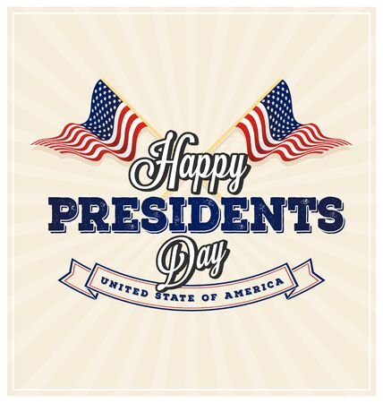 Happy Presidents Day Background and symbols with USA wavy flag.