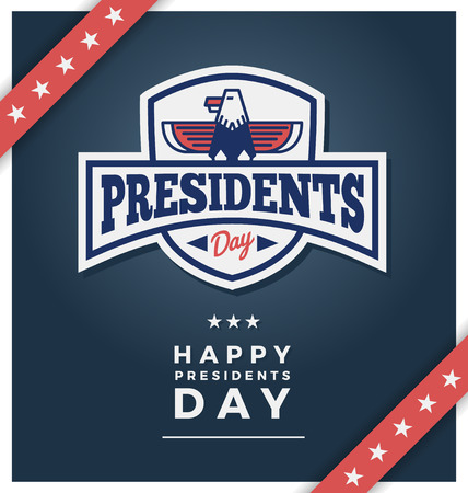 presidents: Presidents day sign on a dark blue background with text Happy Presidents Day.