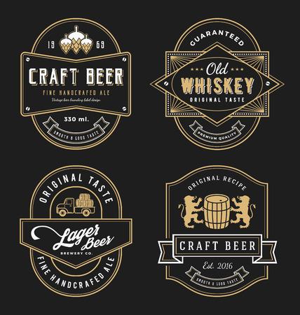 빈티지 프레임 레이블 디자인, 배너, 스티커 및 기타 디자인. 위스키, 맥주, 와인, 음료 및 프리미엄 제품에 적합합니다. 모든 종류의 무료 글꼴을 사용 일러스트