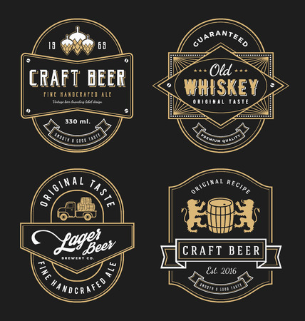 whiskey: Vintage frame design for labels, banner, sticker and other design. Suitable for whiskey, beer, wine, beverage and premium product. All type use free font.