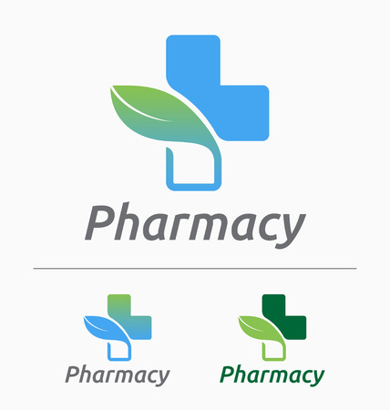Medical pharmacy logo design. Medical and herbal logo concept.  イラスト・ベクター素材