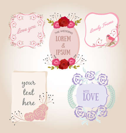 flower decoration: sweet flower frame with copy space for wedding decoration, greeting card and banner design.