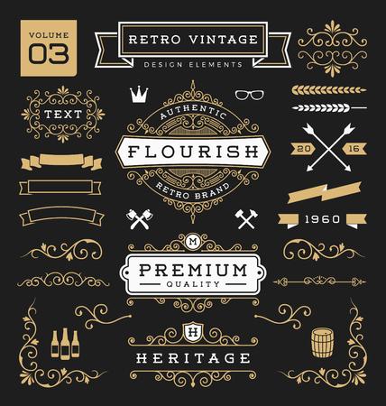 decoration elements: Set of retro vintage graphic design elements. Sign, frame labels, ribbons, symbols, crowns, flourishes line and ornaments.