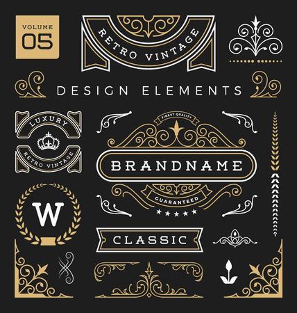 Set of retro vintage graphic design elements. Sign, frame labels, ribbons, symbols, crowns, flourishes line and ornaments.