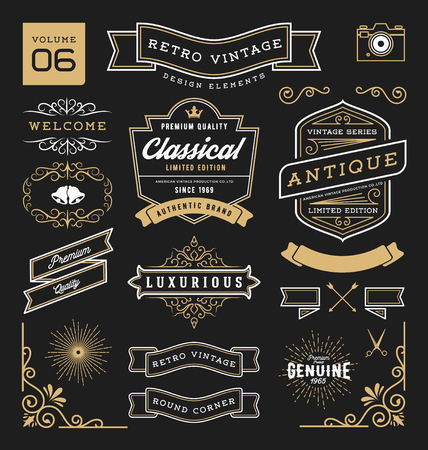 Set of retro vintage graphic design elements. Sign, frame labels, ribbons, symbols, crowns, corner, flourishes line and ornaments. 矢量图像
